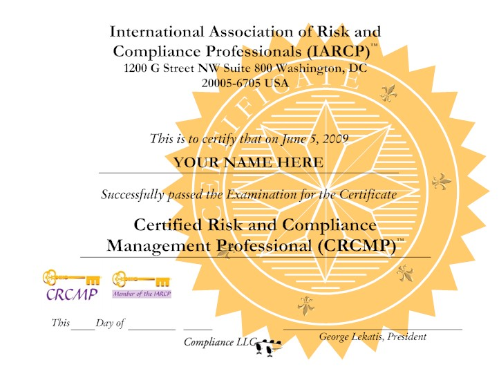 Chief compliance officer international association of risk and compliance professionals iarcp - Compliance officer certification programs ...